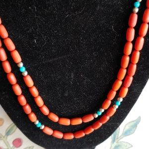 Exquisite Beaded silver, turquoise Coral necklace
